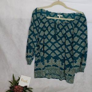 JOIE 100% silk boho teal geometrical pattern top L